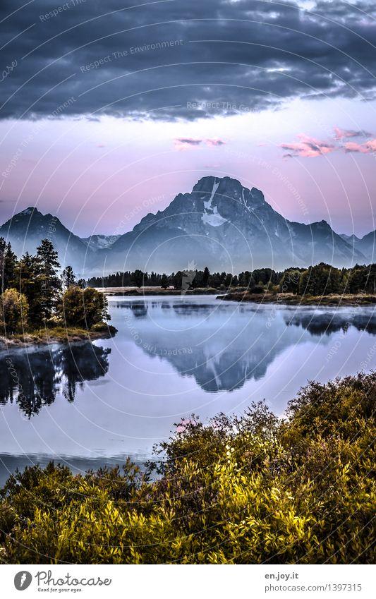 Morgenröte Himmel Natur Ferien & Urlaub & Reisen Sommer Landschaft ruhig Berge u. Gebirge Herbst Freiheit See Nebel Idylle Sträucher Lebensfreude Abenteuer Gipfel