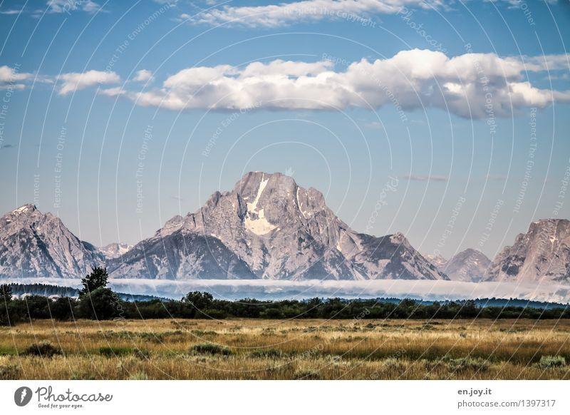 Nebelbank Himmel Natur Ferien & Urlaub & Reisen Sommer Landschaft Wolken Ferne Wald Berge u. Gebirge Herbst Wiese Freiheit Felsen Idylle Ausflug