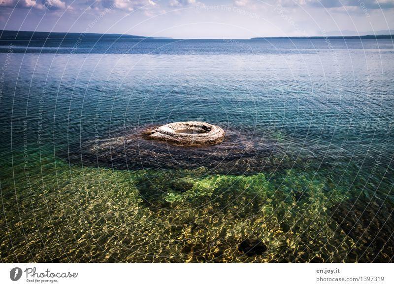 Auspuff Himmel Natur Ferien & Urlaub & Reisen blau grün Sommer Wasser Landschaft Ferne See Horizont Tourismus Energie Abenteuer Urelemente Sauberkeit