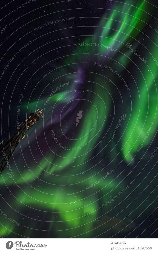 Grönländische Nordlichter Himmel Natur Ferien & Urlaub & Reisen grün schön Farbe Landschaft Wolken Winter kalt Berge u. Gebirge natürlich hell Klima erleuchten