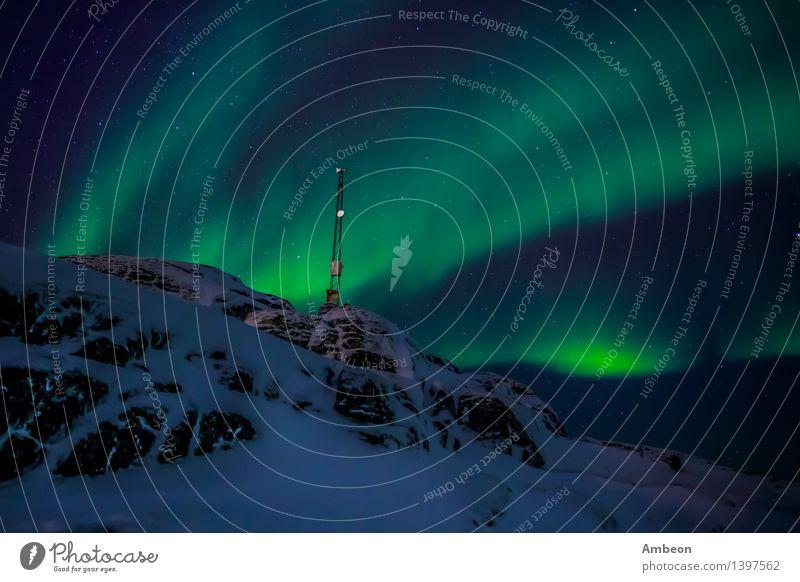 Greenlanic Nordlichter Himmel Natur Ferien & Urlaub & Reisen grün Farbe Landschaft Winter dunkel Berge u. Gebirge Umwelt natürlich Schnee hell Felsen Wetter Eis