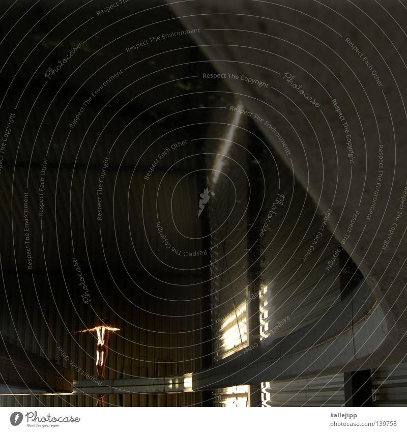 kallehalle Mann Reflexion & Spiegelung Turmspringer Olympiade Beton springen Mauer nackt Körperspannung Wellblech groß klein Licht Sonnenlicht Architektur