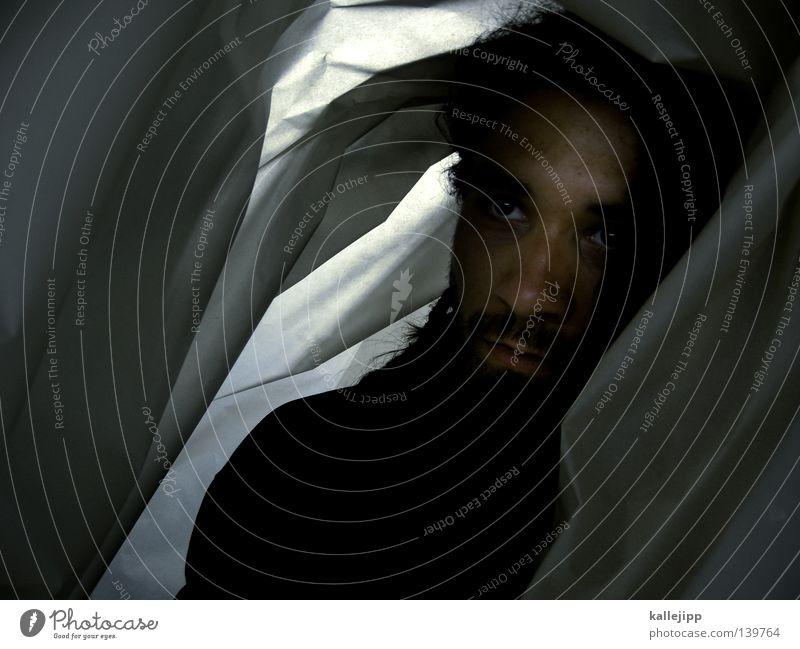 BLN 08 | dread in bed Mensch Mann Gesicht Auge Gefühle Nase Papier Bekleidung Trauer Bett Falte Mütze Bart Decke Verzweiflung Schulter