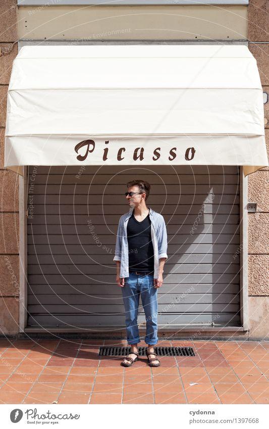 In den Schatten stellen Lifestyle Karriere Erfolg Mensch Junger Mann Jugendliche Leben 18-30 Jahre Erwachsene Kunst Künstler Maler Tor Fassade Fenster