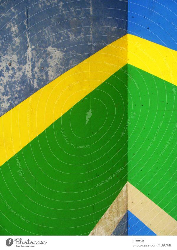 Brasilien grün blau gelb Farbe Wand Freiheit Linie Ecke streichen Pfeil Brasilien Selbstständigkeit bemalt Südamerika angemalt Salomon Inseln