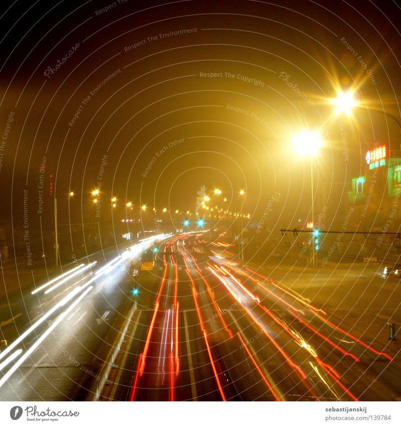 Peking bei nacht Straße Lampe PKW Geschwindigkeit Brücke Asien China Verkehrswege Smog Peking