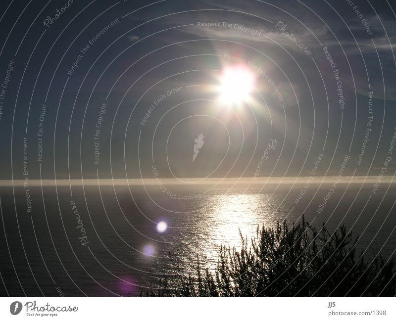 west coast Sonne Meer Horizont Abenddämmerung blenden Kalifornien Pazifik Blendenfleck Abendsonne Wasseroberfläche Wasserspiegelung Leuchtkraft Westküste