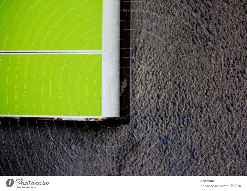 Schwarz-Grüne Koalition grün schwarz grau Fassade Wand Plakat abstrakt Werbung alt Strukturen & Formen Putz Farben