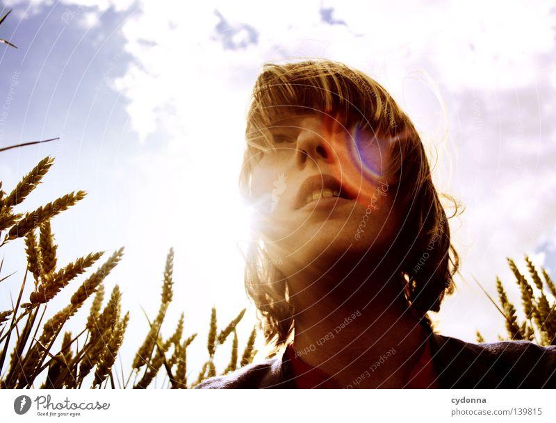 Im Gegenlicht sitzend Frau Mensch Natur Mädchen schön Himmel Sonne grün Sommer Wolken Leben Wiese Gras Bewegung Haare & Frisuren Wärme