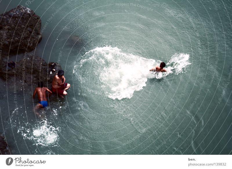 Die Quelle Des Ganges Rishikesh Indien Bad Reinigen Laxman Jhula Fluss Ganga Regen Wasser Küste