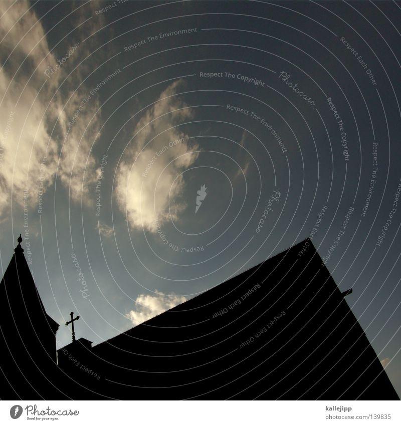 bergauf, bergab, zuletzt ins grab Himmel Haus Wolken Religion & Glaube Rücken Zeichen Symbole & Metaphern Gotteshäuser