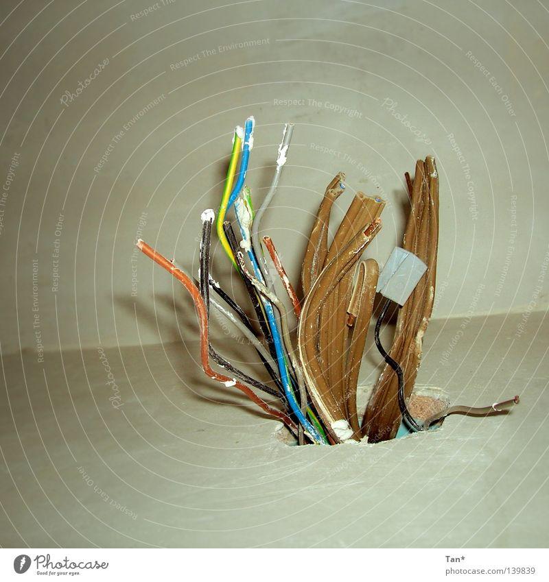 Kabelkoralle Wachstum Wand Putz Baustelle Kabelsalat Elektrizität Kraft gefährlich Kontrolle Öffnung braun mehrfarbig Quadrat Innenaufnahme Elektrisches Gerät
