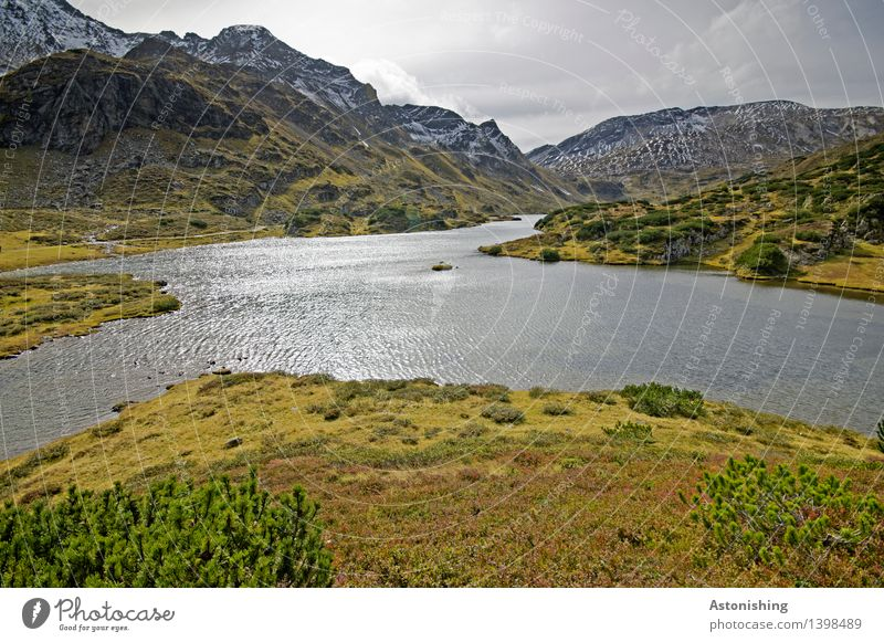 X Umwelt Natur Landschaft Pflanze Wasser Himmel Wolken Gewitterwolken Horizont Herbst Wetter Gras Sträucher Hügel Felsen Alpen Berge u. Gebirge Gipfel
