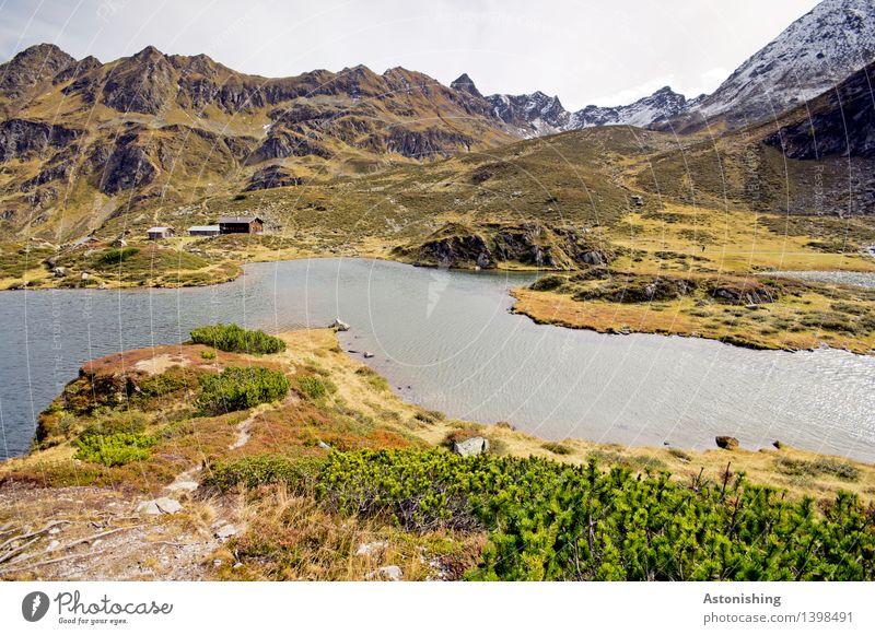 Berghütte Umwelt Natur Landschaft Pflanze Luft Wasser Himmel Wolken Horizont Wetter Gras Sträucher Hügel Felsen Alpen Berge u. Gebirge Gipfel