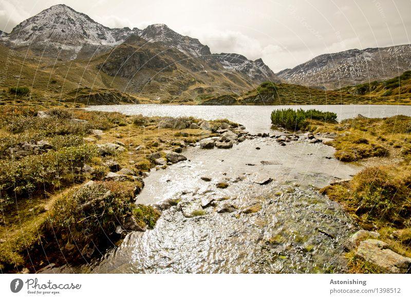 Abfluss Himmel Natur Pflanze Wasser Landschaft Wolken kalt Berge u. Gebirge Umwelt Herbst Gras Küste See braun Felsen Horizont