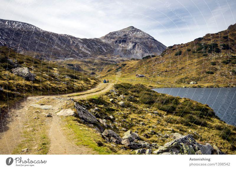 der Berg ruft Mensch Himmel Natur Pflanze Landschaft Wolken Berge u. Gebirge Umwelt Herbst Wiese Gras Kopf See Stein Felsen Wetter