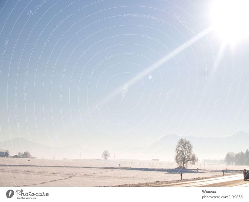 Winterlandschaft Alpen Schnee Baum Sonne Straße Bayern Schönes Wetter Blauer Himmel kalt weiß schön fantastisch Prima einzigartig Deutschland Europa frei