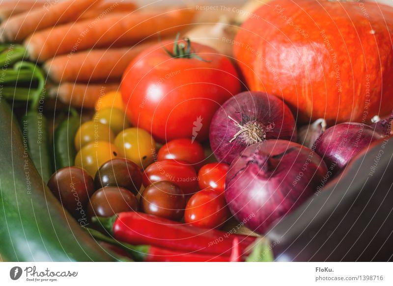 Bunter einkauf Lebensmittel Gemüse Ernährung Bioprodukte Vegetarische Ernährung Diät Italienische Küche frisch Gesundheit gut lecker gelb grün orange rot Tomate