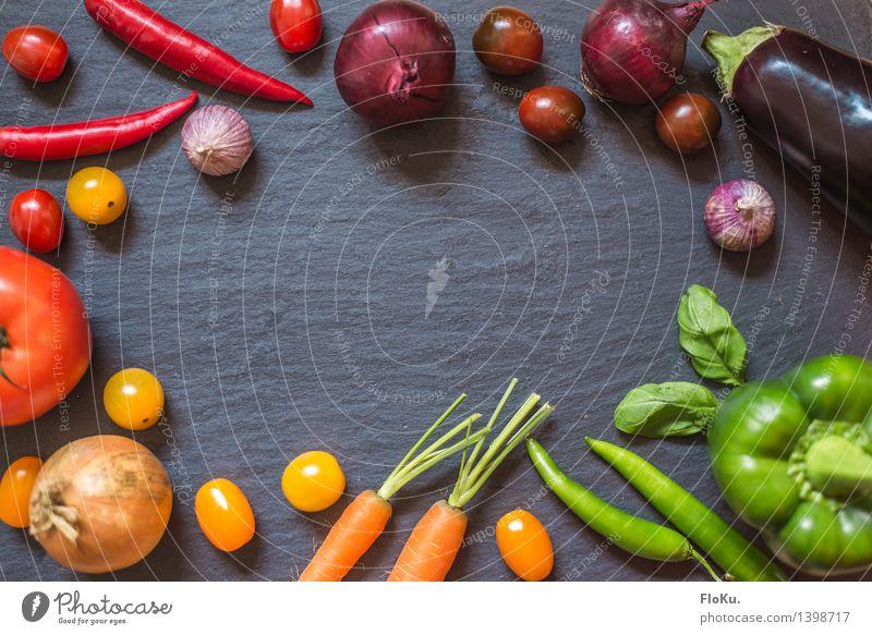 Farbenfrohe Ernährung grün rot gelb Hintergrundbild Gesundheit Lebensmittel orange Ernährung Küche violett Gemüse lecker Bioprodukte Vegetarische Ernährung Tomate Möhre