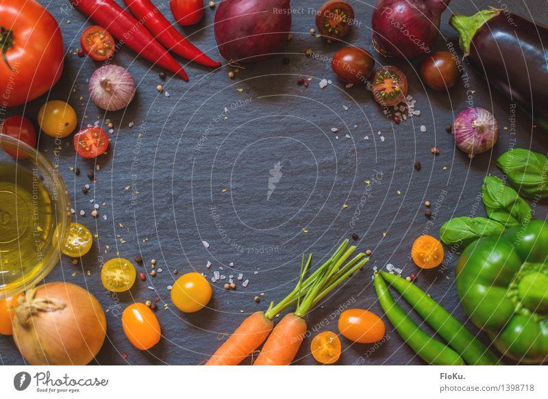 Gesunde Küche grün gelb Gesundheit Lebensmittel orange frisch Ernährung Kräuter & Gewürze Gemüse lecker Bioprodukte mediterran Vegetarische Ernährung Diät