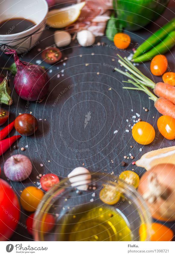 Bereit für das Festmahl Lebensmittel Milcherzeugnisse Gemüse Frucht Öl Ernährung Büffet Brunch Festessen Bioprodukte Italienische Küche Schalen & Schüsseln