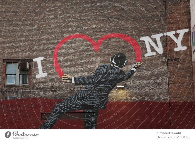 Big Apple Love Ferien & Urlaub & Reisen Jugendliche Mann Stadt Ferne Erwachsene Liebe Graffiti Gebäude Lifestyle maskulin Tourismus Schriftzeichen Ausflug Herz