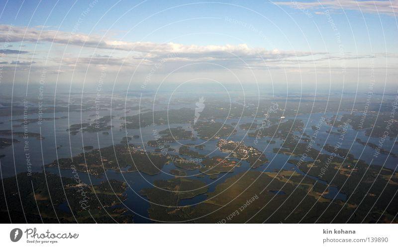wirrungen Himmel blau Wasser Meer Wolken Landschaft Sand Luft Horizont Linie Erde Insel kaputt Fluss Länder Unendlichkeit
