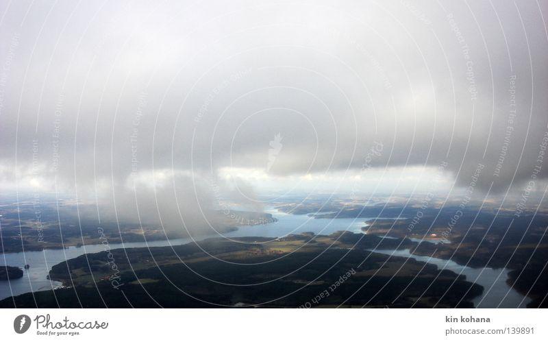 lichtlinie Himmel blau Wasser Ferien & Urlaub & Reisen Sonne Wolken Ferne Landschaft grau See Horizont Regen Erde Nebel Insel Ausflug