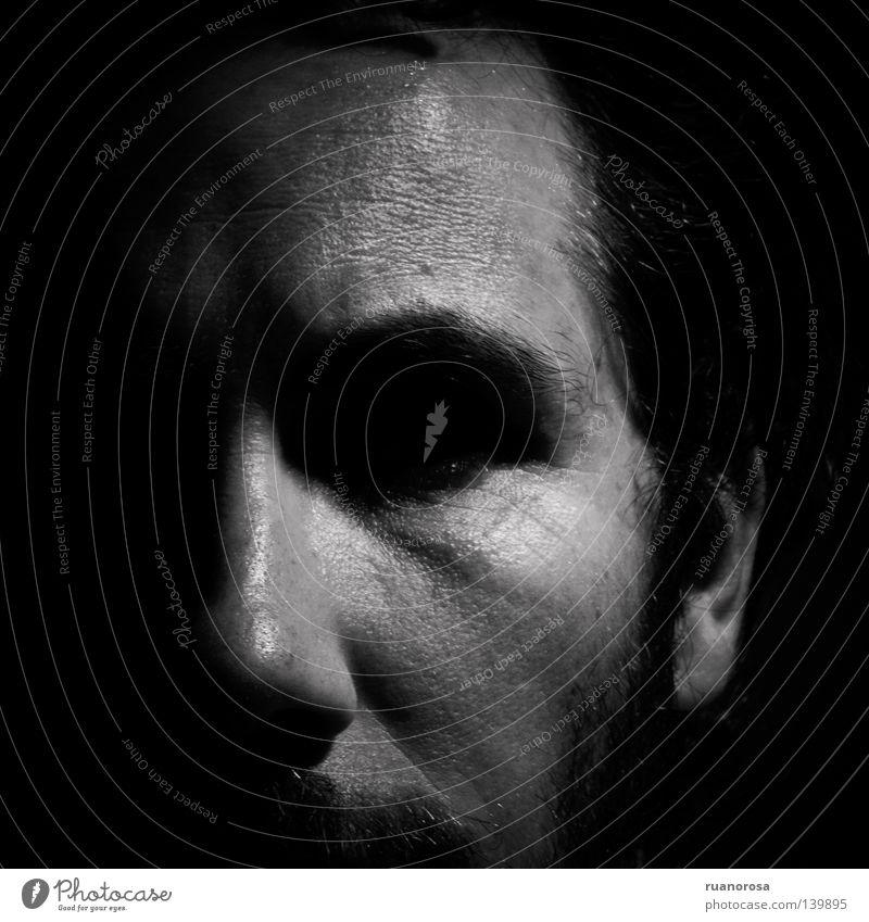 Roan Gesicht Schatten Oberlippenbart Schwarzweißfoto Neger oscuro serio cara rostro ernst dunkel obskur schwarz Zweifel Schmerz ansiedad Tristeza Ruanorosa