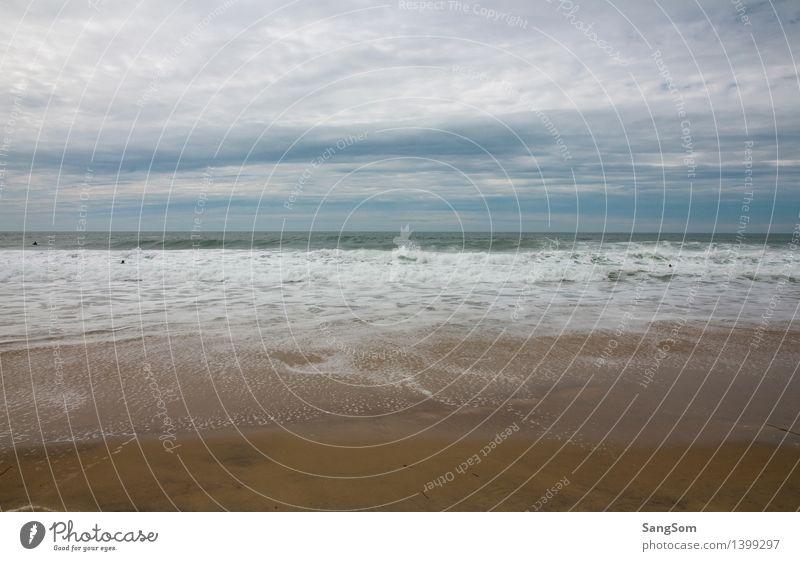 Atlantikküste Frankreich Himmel Natur Ferien & Urlaub & Reisen blau Sommer Wasser weiß Meer Landschaft Wolken Strand Ferne Gefühle Küste braun Sand