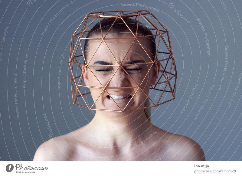 Gedanken, die nicht vergehen Mensch Jugendliche 18-30 Jahre Gesicht Erwachsene Leben Traurigkeit feminin Denken Angst Trauer Platzangst Zukunftsangst Wut