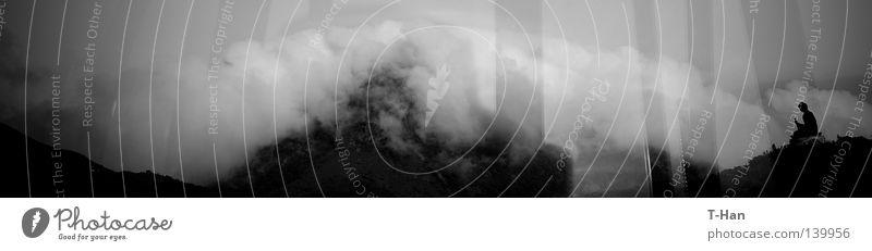 Großer Buddha Asien Landschaft Wolken groß Bronzestatue harmonisch Partnerschaft zwischen Mann Natur Mensch Religion