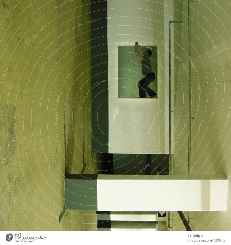 schubladendenke Mann Silhouette Dieb Krimineller Ausbruch Flucht umfallen Fenster Parkhaus Geometrie Gegenlicht Jacke Mantel Mütze Strahlung Thriller springen