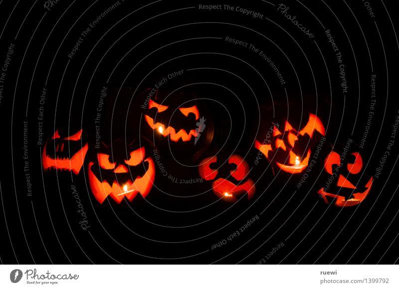 Gruselbande dunkel schwarz Gesicht Herbst lustig Kunst außergewöhnlich Lebensmittel Party orange Häusliches Leben Freizeit & Hobby leuchten bedrohlich rund