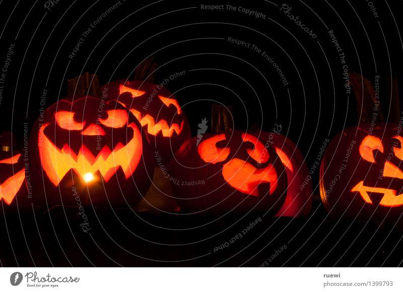 Gruselbande 2 dunkel schwarz Gesicht Herbst lustig Kunst außergewöhnlich Lebensmittel Party orange Häusliches Leben leuchten bedrohlich rund Feuer Laterne