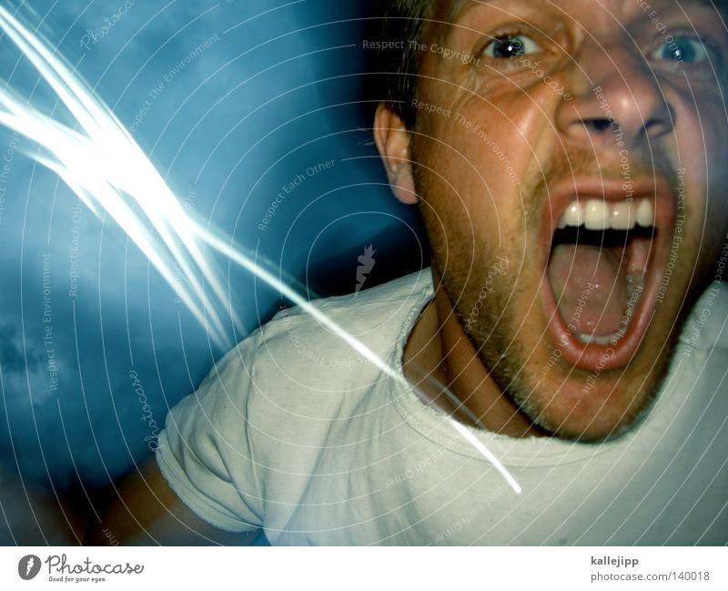 rage hard Mensch Mann Gesicht Auge sprechen Gefühle Bewegung Beleuchtung Angst Mund Haut Nase bedrohlich Zähne Wut Gewalt