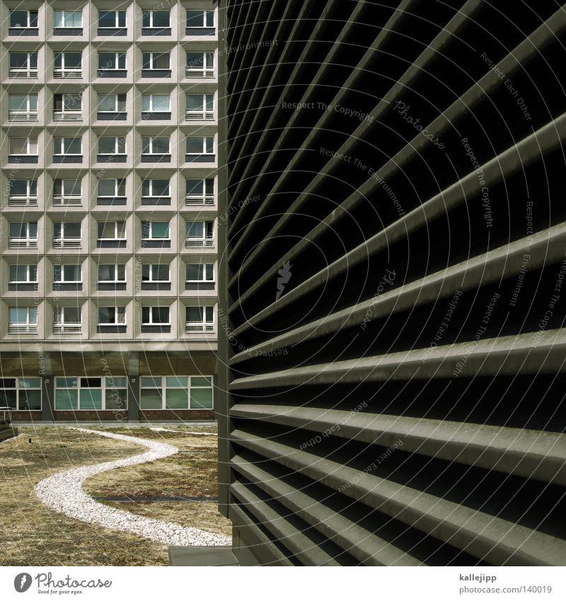 fluchtpunkt Berlin Plattenbau Quadrat Stadt Linie Lüftung Schlitz Gartenbau Park Wege & Pfade verloren Zukunft Fenster anonym fremd Fluchtpunkt Hof Dach