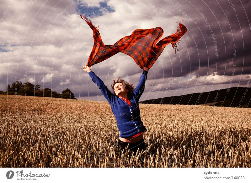 Fliegend Frau Mensch Natur schön Himmel grün blau rot Sommer Freude Wolken Leben Wiese Gras Bewegung Haare & Frisuren