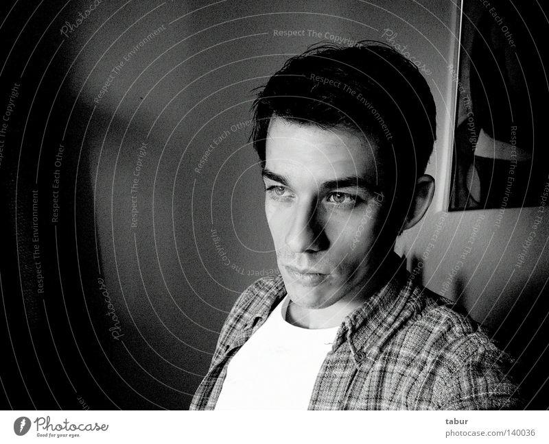 Einfach ich Porträt Bild schwarz weiß grau Ferne Blick Mensch Mann Denken ruhig Image Stil Konzentration Schwarzweißfoto Ich introvertiert gazing black white