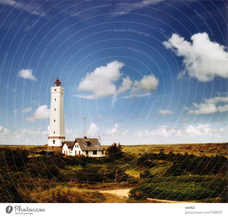 Blåvands Fyr Himmel alt blau schön Sommer weiß Meer Erholung Landschaft Wolken Strand Architektur Küste Sand hell Wasserfahrzeug