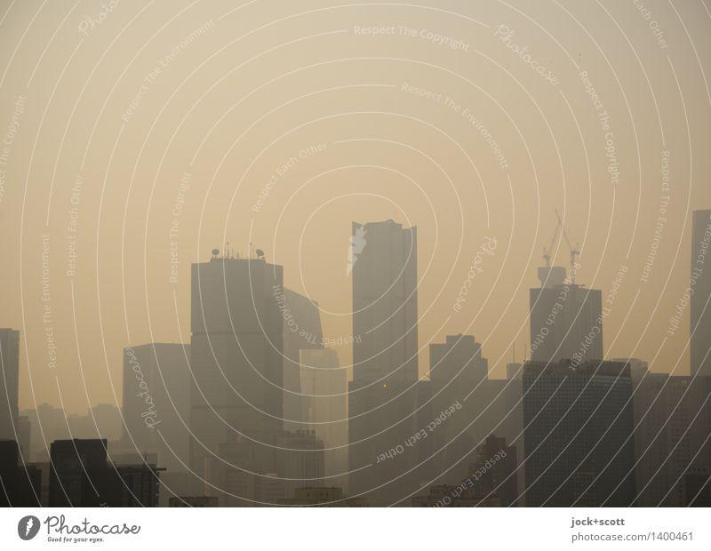 Smog City Stadt Umwelt Wärme dreckig modern trist Hochhaus authentisch groß bedrohlich Skyline Hauptstadt Stadtzentrum Zerstörung Klimawandel trüb