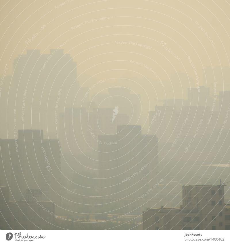 dicke Luft Stadt Gebäude grau modern Hochhaus authentisch bedrohlich Zukunftsangst Hauptstadt gruselig Stress eckig Surrealismus Zerstörung Klimawandel