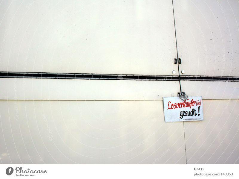 gesucht: Saisonglücksfee (m/w) weiß Arbeit & Erwerbstätigkeit Wohnung Suche Schilder & Markierungen Erfolg geschlossen Schriftzeichen Beruf Buchstaben
