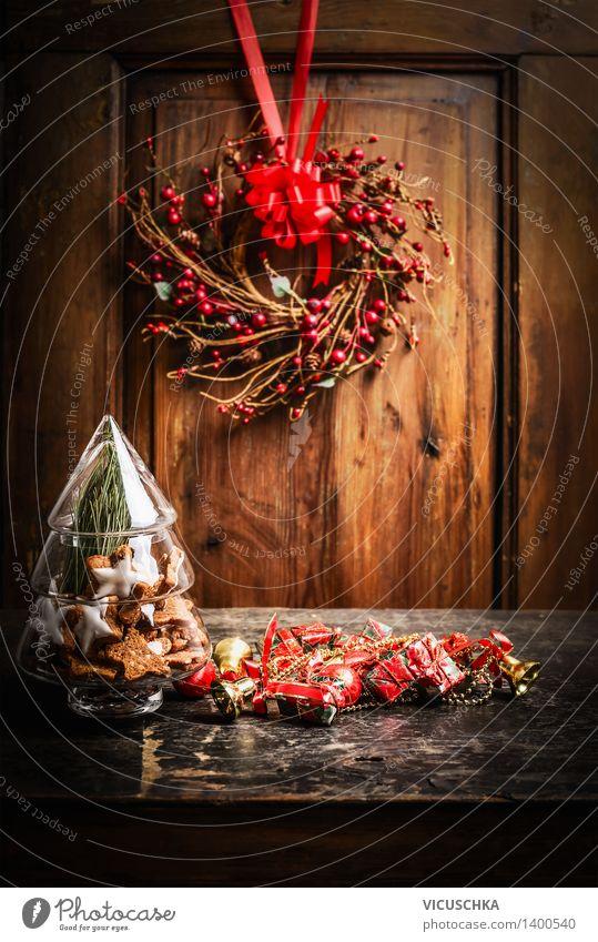 Weihnachtskarte Glas , Stern Plätzchen und Dekoration Weihnachten & Advent Haus Winter dunkel Wand Wärme Stil Hintergrundbild Feste & Feiern Wohnung Design