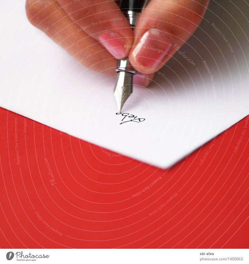 ...s Tagebuch feminin Junge Frau Jugendliche Finger Schreibwaren Papier Zettel Füllfederhalter Zeichen Schriftzeichen Kommunizieren schreiben Gefühle