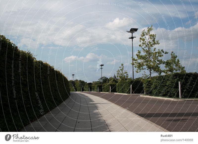 Parklatzleere Himmel grün Einsamkeit Lampe warten Beton leer Laterne Langeweile Verkehrswege Geometrie Parkplatz Hecke Rechteck