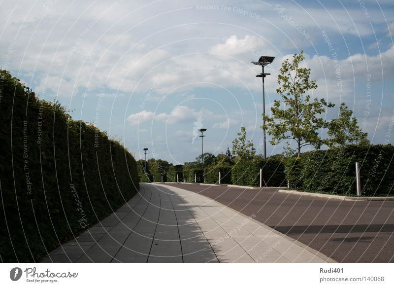 Parklatzleere Parkplatz grün Himmel Geometrie warten Laterne Lampe Rechteck Einsamkeit Beton Hecke Verkehrswege Langeweile lot