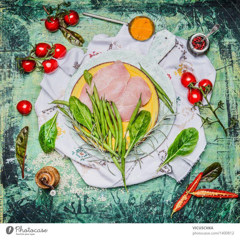 Hähnchenbrust mit grünen Bohnen und Zutaten fürs Kochen Gesunde Ernährung Leben Stil Lebensmittel rosa Design Tisch Kochen & Garen & Backen Kräuter & Gewürze
