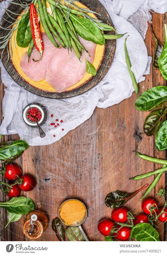 Hähnchenbrust mit köstlichen Gemüse und Zutaten Gesunde Ernährung Leben Stil Hintergrundbild Lebensmittel Design Ernährung Tisch Kochen & Garen & Backen Kräuter & Gewürze Küche Gemüse Bioprodukte Teller Schalen & Schüsseln Fleisch