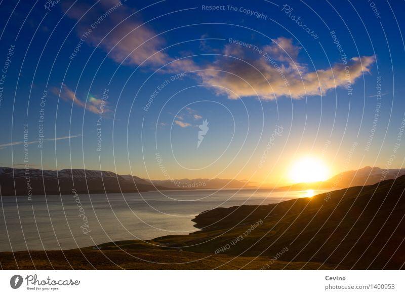 Tschüss, bis morgen! Landschaft Himmel Wolken Sonne Sonnenaufgang Sonnenuntergang Sonnenlicht Schönes Wetter Fjord Akureyri Island Europa schön Sehnsucht Sunset